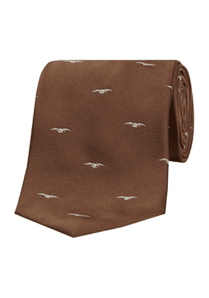 Chocolate Eagle Patterned Silk Tie
