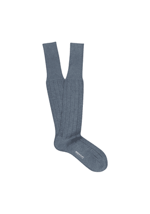 Blue-Grey and Navy Pinstriped Egyptian Over-the-Calf Cotton Socks