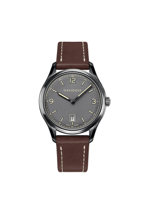 Grey Essentials No.1 Watch with Cognac Leather Strap