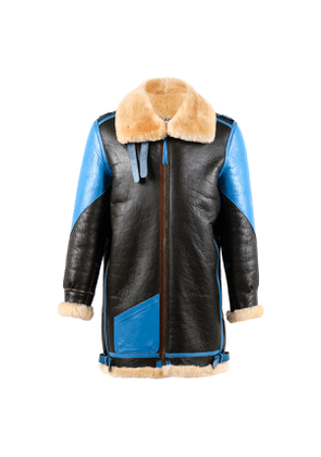 Blue And Black B3 Leather Jacket With Gold Shearling