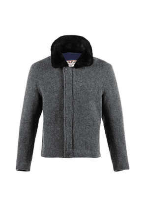 Dark Grey Boiled Wool Country Bomber Jacket