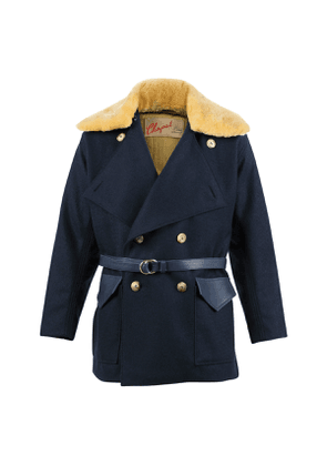French Blue Sheep Leather Fur Collar 1914 Jacket
