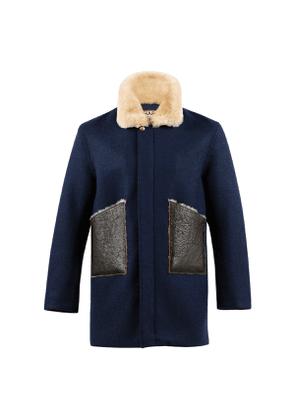 Dark Navy Boiled Wool Long Country Bomber Jacket