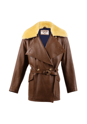 Classic Brown Sheep Leather Fur Collar 1914 Jacket
