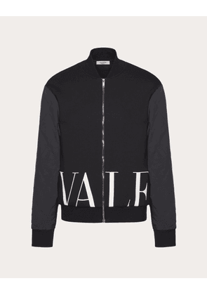 Valentino Uomo Blouson With Valentino Hem Print Man Black/white Cotton 71%, Polyester 29% S