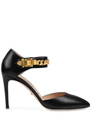 Gucci chain-detail 95mm pointed pumps - Black