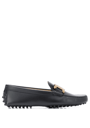 Tod's chain buckle leather loafers - Black