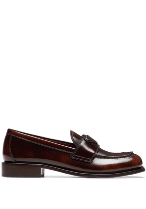 Prada logo plaque square-toe loafers - Brown
