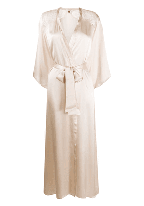 Gilda & Pearl long silk robe - NEUTRALS