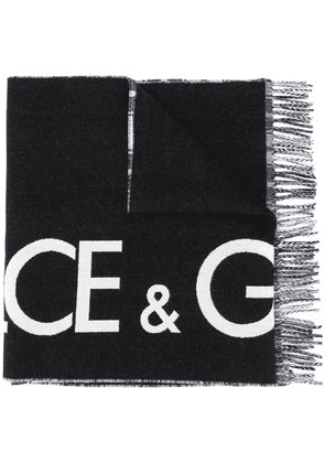 Dolce & Gabbana reversible logo cashmere-wool blend scarf with check