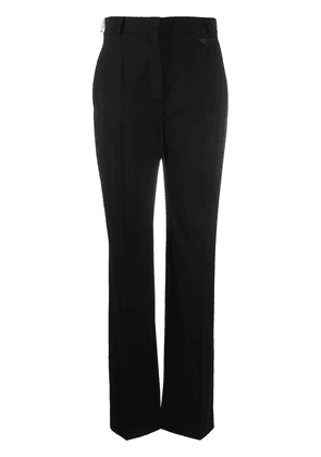 Prada logo-patch wide-leg trousers - Black