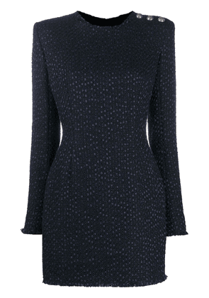 Balmain bouclé tweed mini dress - Blue