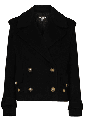 Balmain button-detail wool-blend coat - Black