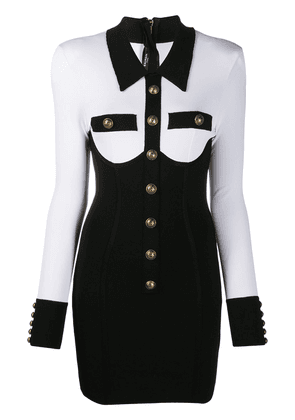 Balmain corset detail mini dress - Black