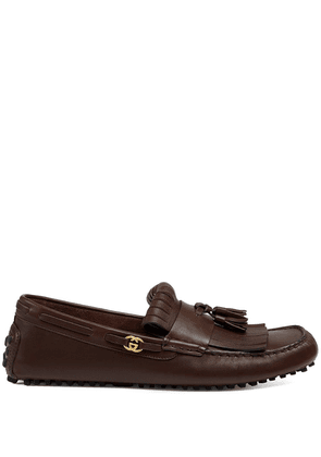 Gucci fringed leather driving shoes - Brown