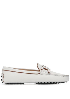 Tod's chain-link leather driving loafers - White