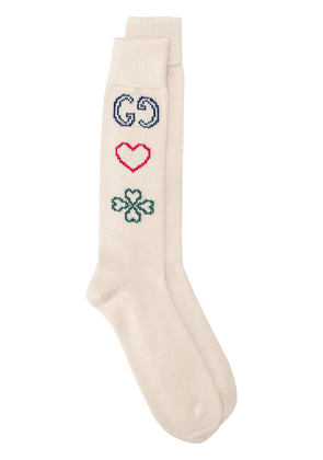 Gucci symbols motif knitted socks - Neutrals
