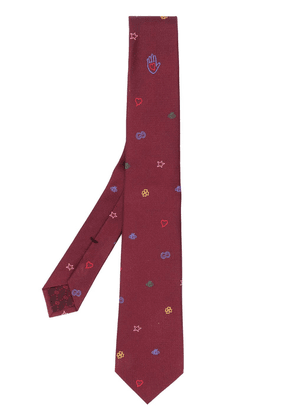 Gucci embroidery embellished woven tie - Red