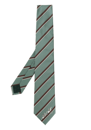 Gucci horse and stripes print necktie - Green