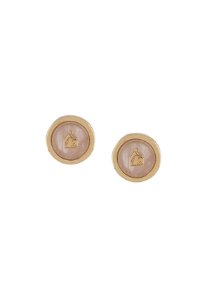 LANVIN Mother and Child logo earrings - White