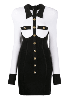 Balmain buttoned two-tone corset dress - Black