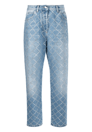 Balmain diamanté check jeans - Blue