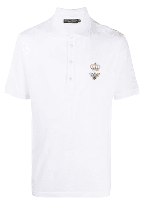 Dolce & Gabbana cotton-mix polo shirt with embroidered emblem - White