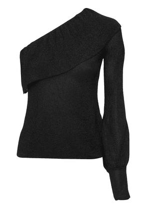 One Shoulder Ruffled Knit Sweater