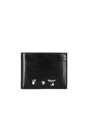 OFF-WHITE OW Logo Bifold Wallet in Black & White - Black. Size all.