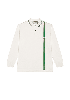 Gucci Long Sleeve Polo in White & Multicolor - White. Size S (also in L,M).