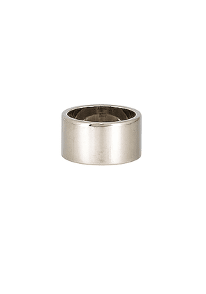 Maison Margiela Logo Ring in All Palladio Polished - Metallic Silver. Size L (also in M,S).