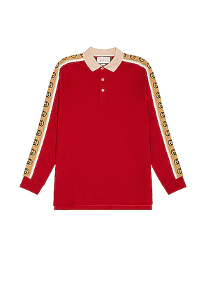 Gucci Long Sleeve Polo in Live Red & Multicolor - Red. Size L (also in M,S,XL).
