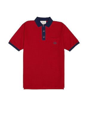 Gucci Short Sleeve Polo in Live Red & Ink - Red. Size L (also in M,S).