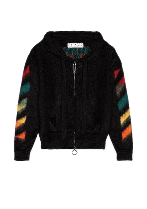 OFF-WHITE Diag Brushed Mohair Zip Hoodie in Black Rain - Black. Size L (also in M,S,XL).