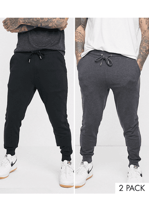 ASOS DESIGN organic skinny joggers 2 pack in black/charcoal-Multi