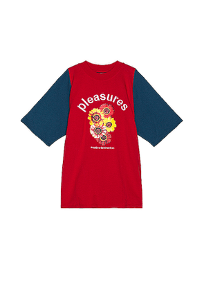 Pleasures Destruction Heavy Knit Tee in Red. Size L,M,XL.