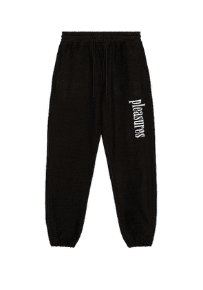 Pleasures Logic Reverse Terry Sweats in Black. Size L,M,XL.