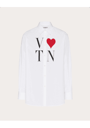 Valentino Uomo Shirt With Vlovetn Print Man White/multicolor Cotton 100% 38