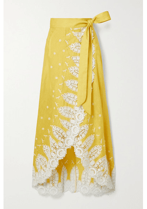 Miguelina - Clarice Crochet-trimmed Embroidered Linen Wrap Skirt - Yellow