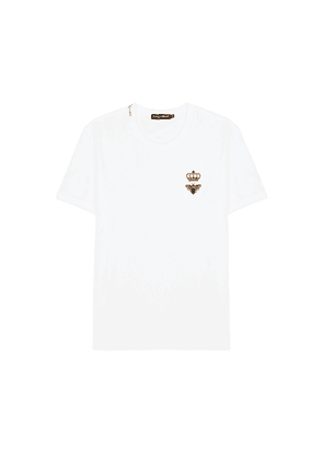 Dolce & Gabbana White Embroidered Cotton T-shirt