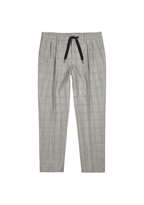 Dolce & Gabbana Monochrome Checked Wool-blend Trousers