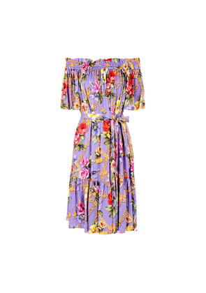 Boutique Moschino Floral-print Off-the-shoulder Midi Dress