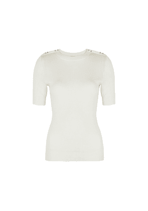 3.1 Phillip Lim Ivory Ribbed Wool-blend Top