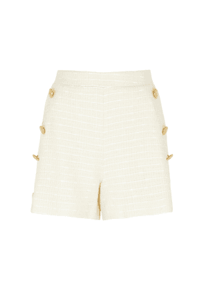Boutique Moschino Cream Button-embellished Tweed Shorts