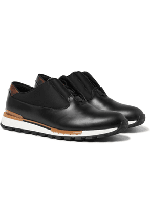 Berluti - Fast Track Tornio Leather and Shell Sneakers - Men - Black
