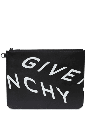 Reflective Logo Print Leather Zip Pouch