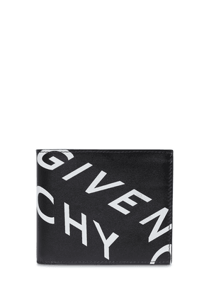 Reflective Logo Print Leather Wallet