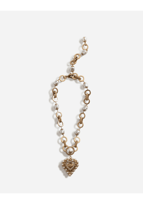 Dolce & Gabbana Bijoux - SHORT NECKLACE WITH DECORATIVE SACRED HEART AND PEARL DETAILS GOLD