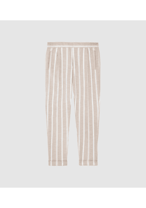 Reiss Morris - Pleat Front Striped Trousers in White, Mens, Size 28