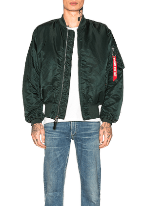 ALPHA INDUSTRIES MA-1 Flight Jacket in Green. Size S.